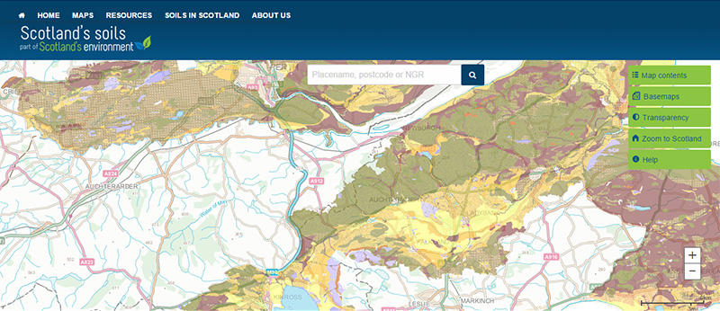 Map of soil texture in nitrate vulnerable zones scotland for Soil zone of accumulation
