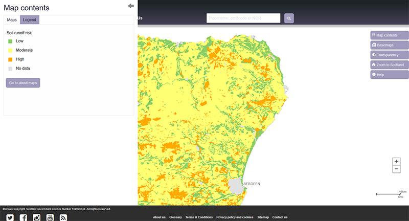 Map Of Runoff Risk Partial Cover Scotlands Soils - Us-map-legend